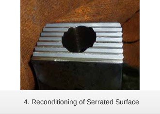Laser cladding reconditioning of Serrated Surface